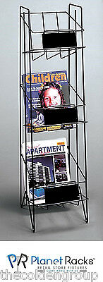 Planet Racks 3 Shelf Magazine Free Standing Literature Display - Black