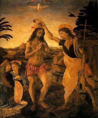 BAPTISM OF CHRIST HOLLY SPIRIT RELIGION ITALIAN PAINTING BY VERROCCHIO REPRO