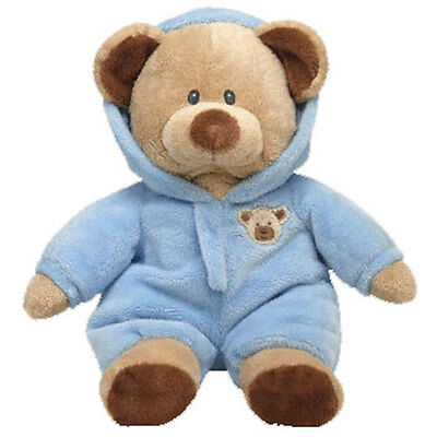 TY Pluffies - BABY BEAR BLUE (with Hooded PJ's - 11 inch) -MWMT's Stuffed Animal