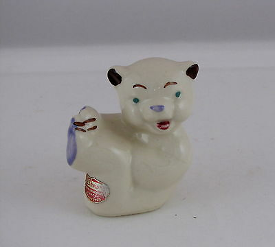 "Shawnee Pottery Tumbling Bear Figure, w Original Label, 3"" tall"