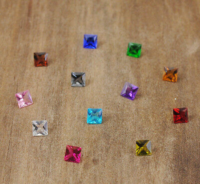 12pcs Square  Crystal Floating Charm for Glass Living Memory Locket Mix H1893