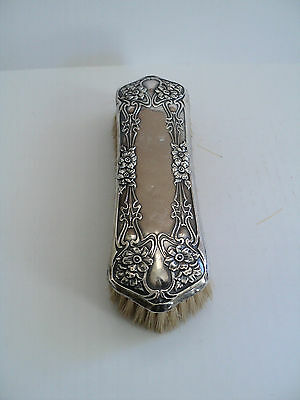 LOVELY ANTIQUE STERLING SILVER LONG CLOTHES BRUSH, CHASED FLORAL DESIGN, c. 1900