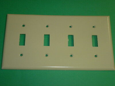 Nos! Bell Electric 4 Gang Toggle Switch Plate, Ivory #10-4-Iv