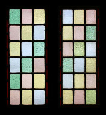 Pretty Antique English Victorian Pair Stained Glass Windows