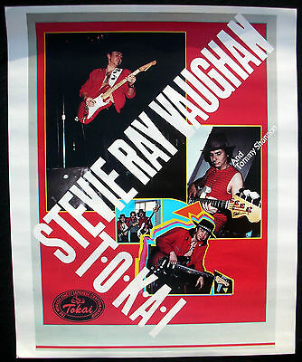 STEVIE RAY VAUGHAN Tokai Guitars 1985 Promo POSTER Original SRV Double Trouble