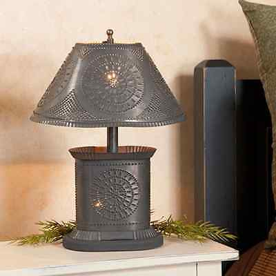 primitive HANDCRAFTED blacken punched tin oval petite table lamp /free ship