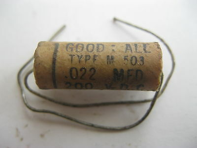 1 Vintage Nos Good All .022 Mfd 200Vdc Capacitor