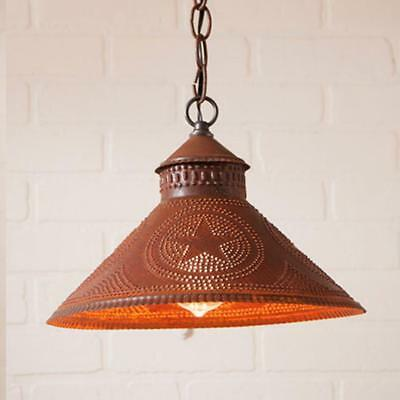 primitive new STOCKBRIDGE distressed rusty tin punch STAR hang light/nice