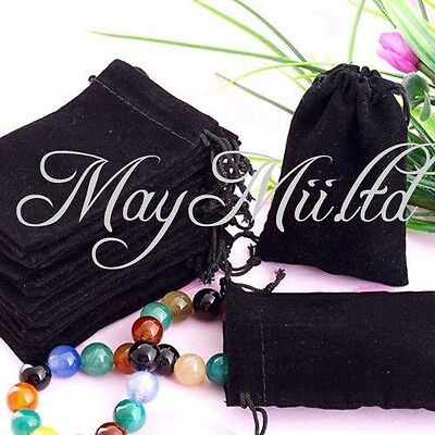 20 X New Black Velvet Drawstring Jewelry Necklace Ring Gift Bags Pouches Sale TL