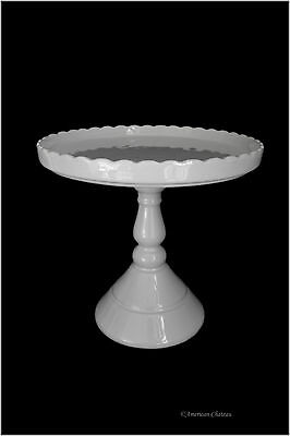 """9"""" Scallop Edging Tall White Porcelain Pedestal French Dessert Cake Plate Stand"""
