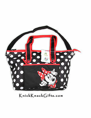 DISNEY BABY MINNIE  MOUSE LARGE  DIAPER BAG (black with polka dots)