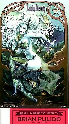 Lady Death 0 Pisces edition 45/99 signed by Brian Pulido COA FREE UK POST NM