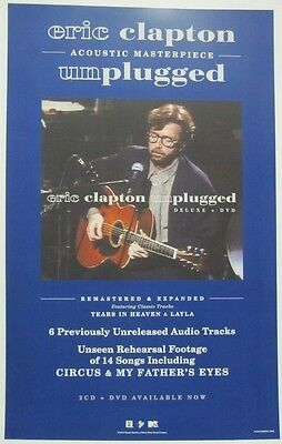 ERIC CLAPTON 2013 UNPLUGGED reissue promotional poster ~NEW & MINT condition~!