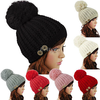 Fashion Ladies Womens Knitted Winter Warm Ski Chunky Button Bobble Hat Beanie