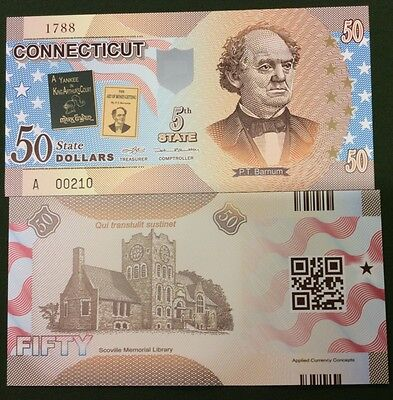 UNITED STATE USA. CONNECTICUT 50 DOLLARS ND 2014 5TH POLYMER COMM. UNC