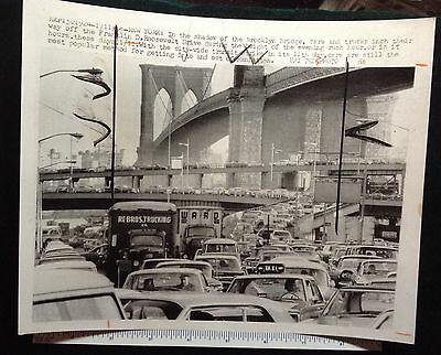 New York City Transportation Strike Traffic Jam At The Brooklyn Brodge 1966#8714