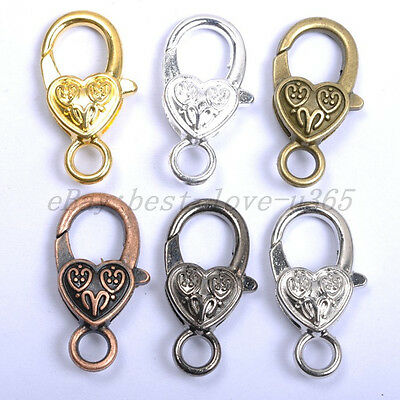 10Pcs Gold Silver Plated Bronze Copper Floral Charm Heart Lobster Clasps 25X14MM