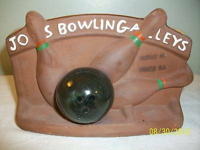 McCoy Chocolate Bisque Joes Bowling Alleys Planter USA