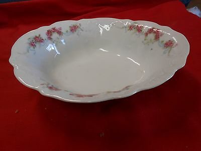 """Beautiful ELBOGEN China-Pink Flowers-Made in AUSTRIA- ..VEGETABLE BOWL..8.5""""x7"""""""