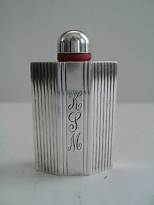 NICE VINTAGE SCENT / PERFUME BOTTLE with STERLING SILVER DECORATION