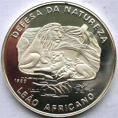 Mozambique 1989 Lions 500 Meticais Silver Coin,Proof