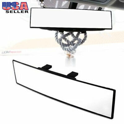 JDM 300mm Curve Interior Clip On Wide Rear View Mirror Fit Most Car SUV Vehicle
