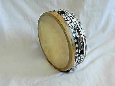 "Small Egyptian Tambourine Rik With Metal Cymbals 5.5"" Great Price"