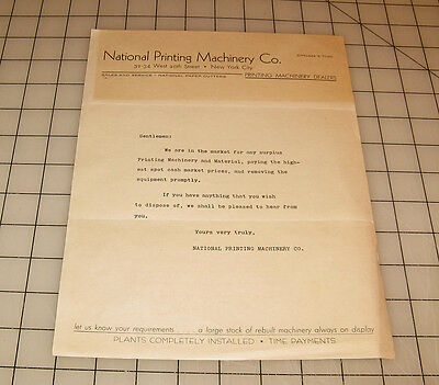 """Vintage NATIONAL PRINTING MACHINERY Co. New York City """"Surplus Request"""" Letter"""