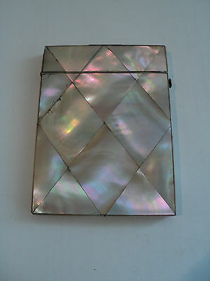 NICE ANTIQUE VICTORIAN CARD CASE with INLAID MOTHER-OF-PEARL DECORATION
