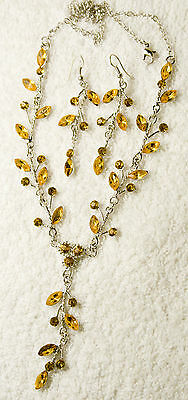jewelry set amber crystal necklace earrings silver tone matching vintage style