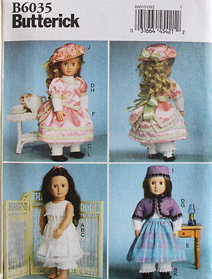 """18"""" GIRL DOLL CLOTHES Butterick Sewing Pattern 6035 American Made NEW"""
