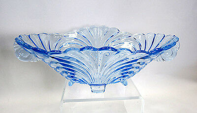 "Cambridge Caprice Moonlight Blue Oval 4-Toed Handled 12.5"" Console Bowl"