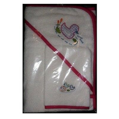 Neat Nursery Quack Quack Hooded Towel & Mitt Set (Pink)