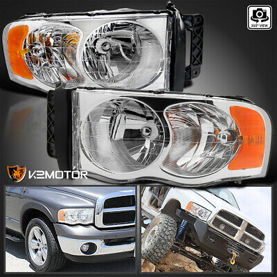 2002-2005 Dodge Ram 1500/2500/3500 Crystal Clear Replacement Headlights PAIR