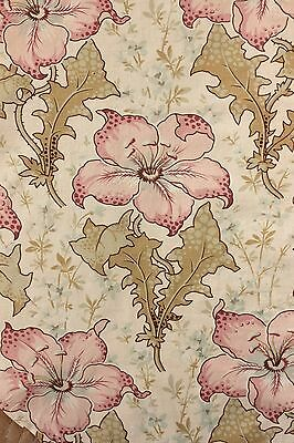 Antique French 1895 printed cotton Belle Epoque floral material GORGEOUS