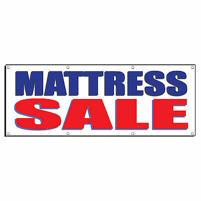 MATTRESS SALE BLUE RED Promotion Business Sign Banner 4' x 2' w/ 4 Grommets