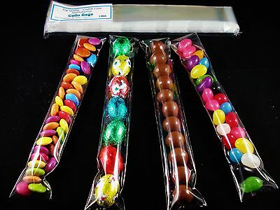 100 Clear Cello Treats Long Bags 35x200mm Easter Egg Lollies Skinny FREE POSTAGE