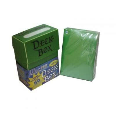SEALED ULTRA PRO GREEN DECK BOX + 50 SMALL SIZE PROTECTOR SLEEVES fit YUGIOH
