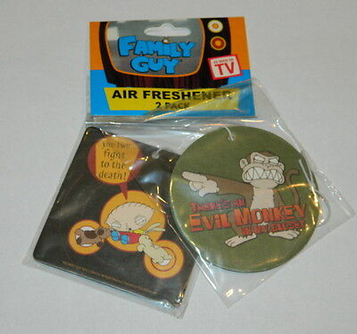 Family Guy Stewie And Evil Monkey Bubblegum Air Freshener Two Pack, NEW UNUSED