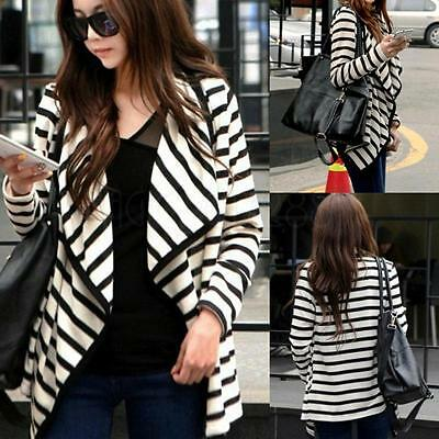Fashion Women Long Sleeve Striped Peplum Casual Tops Cardigan Blouse Jacket Coat