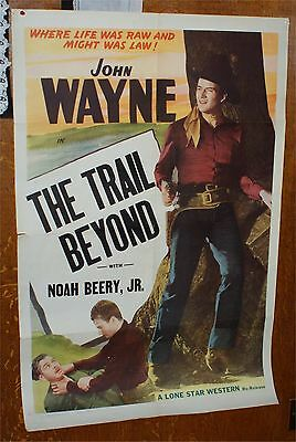 VINTAGE  JOHN WAYNE Movie Theater THE TRAIL BEYOND  COWBOY WESTERN POSTER
