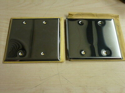 Nos! (2) Bell Electric 2-Gang Chrome Finish Blank Wall Plate