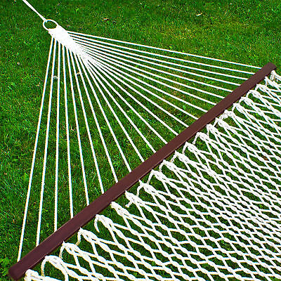 BCP Cotton Rope Double Hammock w/ Carrying Case, Spreader Bars - White