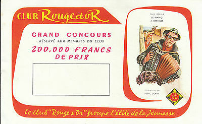 Buvard Vintage  Club Rouge & Or  Paul Berna au Piano  Illustr de P . Dehay