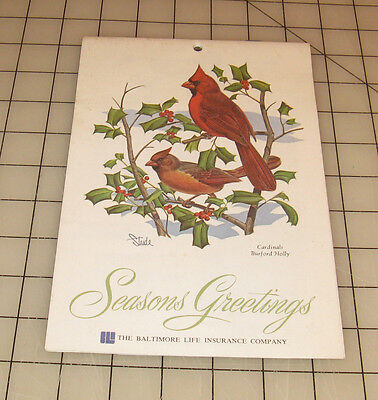 "1980 BALTIMORE LIFE INSURANCE COMPANY ""BIRD ART"" Paper Calendar"