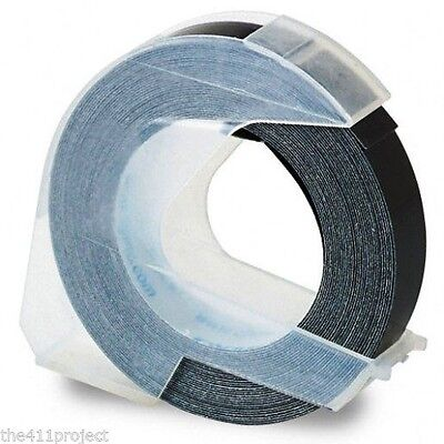 "3/8"" 9mm BLACK Embossing Tape for Dymo Omega, Xpress, Pro & Caption Label Makers"
