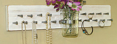 Earring jewelry organizer vintage white necklaces bracelets wall rack NEW