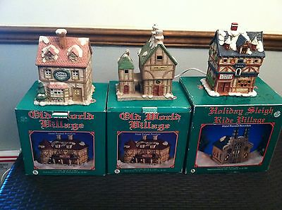 Set of 3 OLD WORLD VILLAGE 1992  ~ Old Mill ~ Green Grocer ~  Swiss Inn  w/Boxes