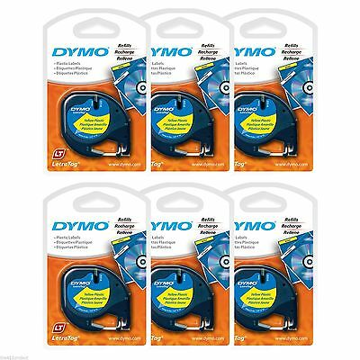 6PK Dymo LetraTag YELLOW Plastic Tapes Letra Tag LT-100T LT-100H XR PLUS & QX50