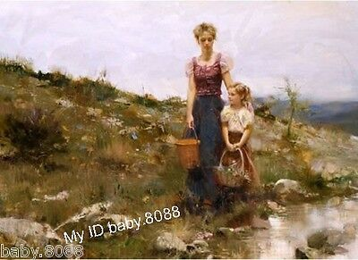 Handicraft repro oil painting : beautiful young mother and little girl #1937